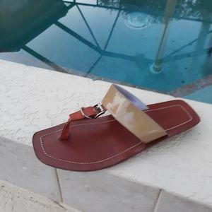 PRADA Wooden Heel Thong  Sandal Size 6